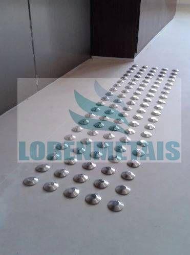Elemento Tátil Alerta Em Aço Inox Metro linear CX c/ 100 Pçs - 4001