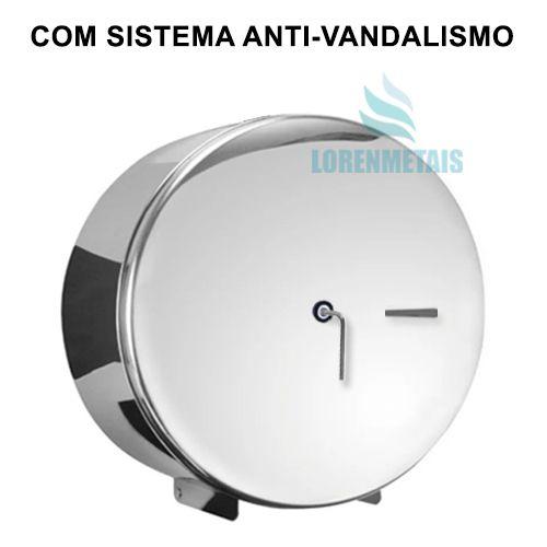 Dispenser de Papel Higiênico Inox cromado Sem Porta Cadeado 400 mt - 20003