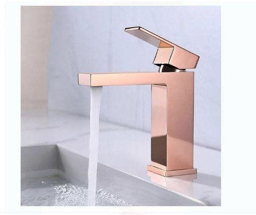 Torneira Monocomando Banheiro Quadrada Rose Gold Brilhante