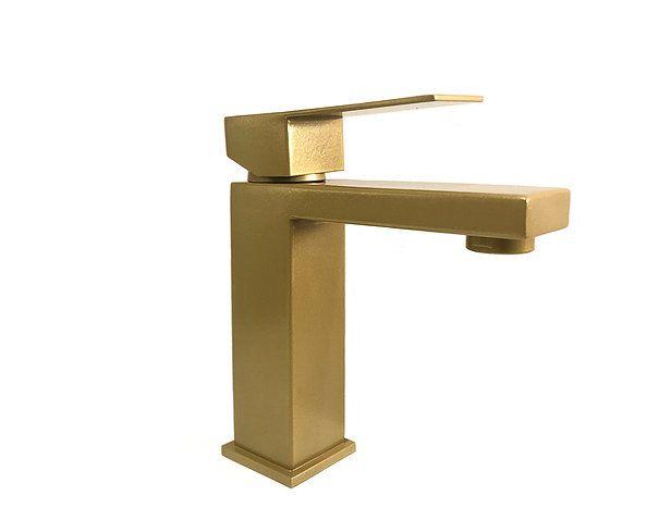 Torneira Monocomando Banheiro Quadrada Baixa Dourada