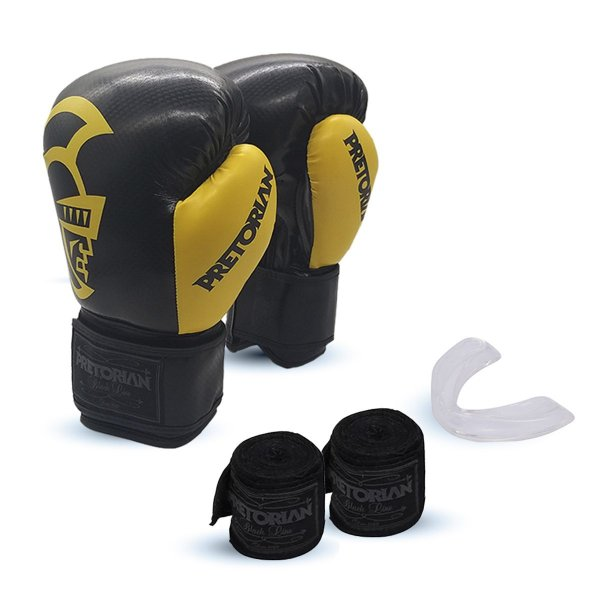 KIT BOXE/MUAY THAI PRETORIAN BLACK LINE  AMARELO