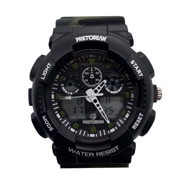 RELÓGIO PRETORIAN COMMAND BLACK MILITARY GREEN ( WPRT-02-2)