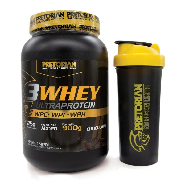 KIT 3WHEY ULTRA PROTEIN CHOC 900GR + COQUETELEIRA PRETORIAN TRAINING