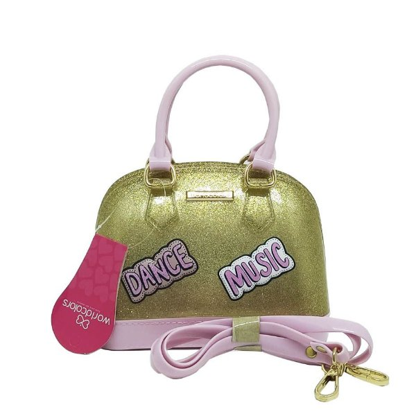 Bolsa Infantil World Colors Rosa e Gliter