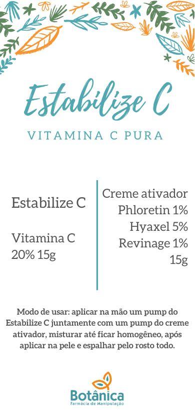 Estabilize C Vitamina C pura 20%, Creme ativador Phloretin 1%, Revinage 1%, Hyaxel 5% (ácido Hialurônico) 30g