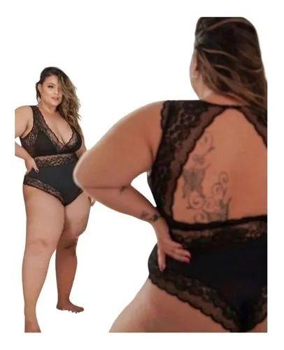 Body De Renda Sensual Preto Plus Size Joyce Prado