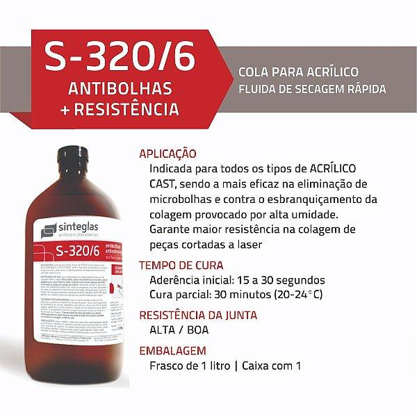 Cola Acrílica com 1L S320/6 - Antibolhas + Resistência