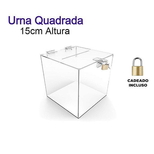 Urna de Acrílico Quadrada 15cmx15cm