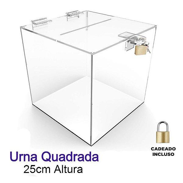 Urna de Acrílico Quadrada 25cmx25cm