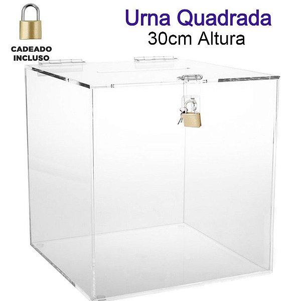 Urna de Acrílico Quadrada 30cmx30cm