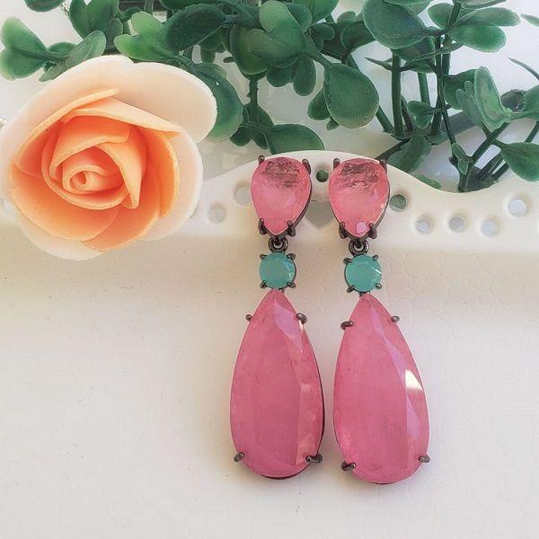 Brinco Semijoia Gota Rosa Pedra Fusion E Cristal Ródio Negro