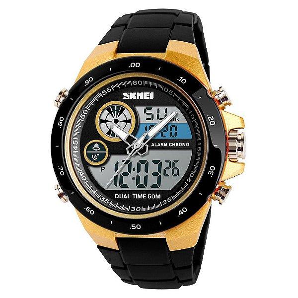 Relógio Masculino Skmei AnaDigi 1429 - Preto e Dourado