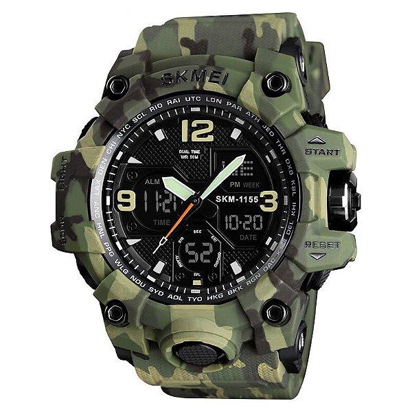 Relógio Masculino Skmei AnaDigi 1155B - Verde e Camuflado