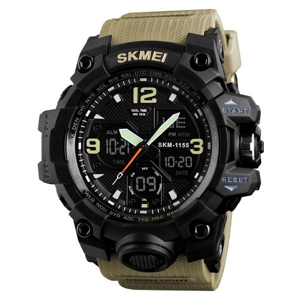 Relógio Masculino Skmei AnaDigi 1155B - Marrom e Preto