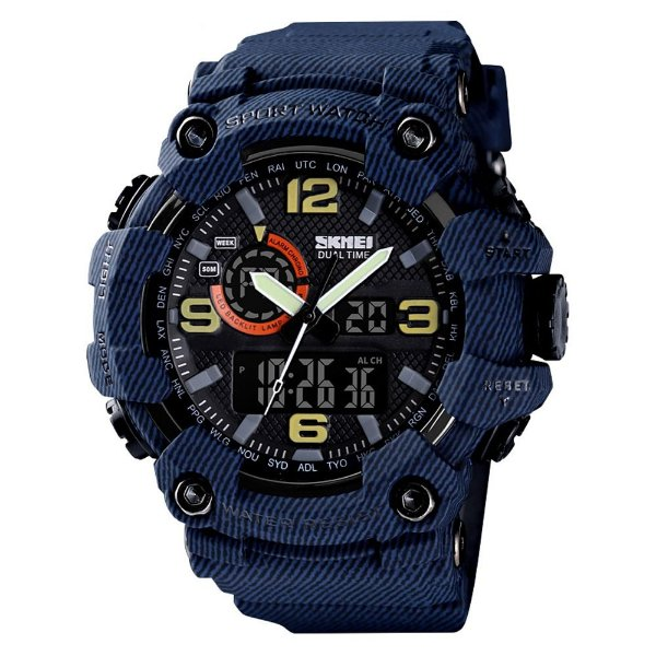 Relógio Masculino Skmei AnaDigi 1520 - Azul Rajado