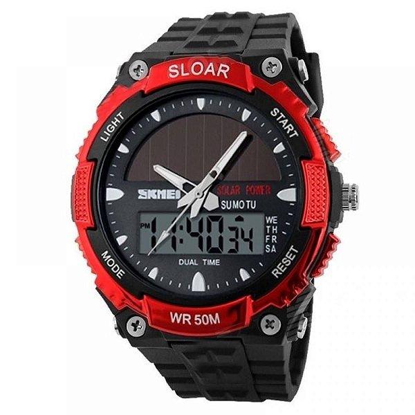Relógio Masculino Skmei AnaDigi 1049 - Preto e Vermelho