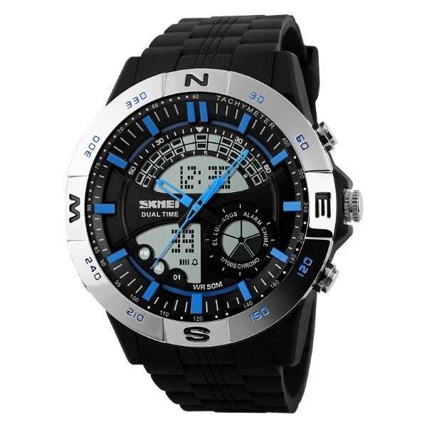 Relógio Masculino Skmei AnaDigi 1110 - Prata e Azul