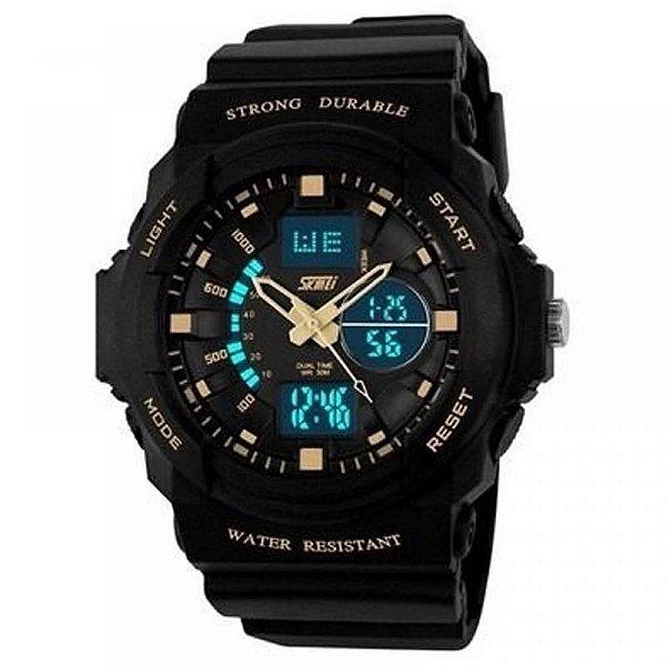 Relógio Masculino Skmei AnaDigi 0955 - Preto e Bege