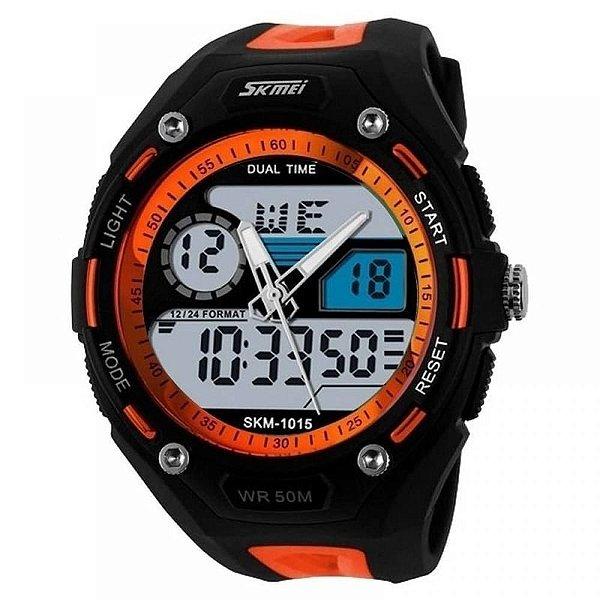 Relógio Masculino Skmei AnaDigi 1015 - Preto e Laranja