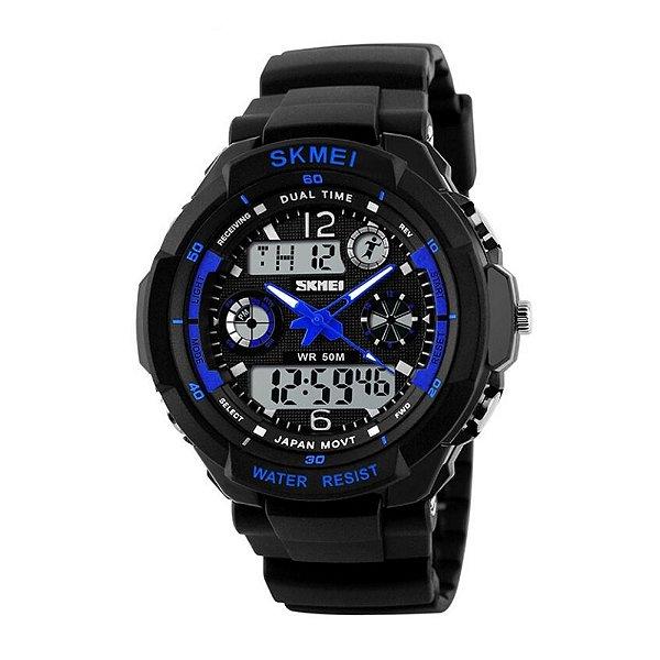 Relógio Masculino Skmei Anadigi 1060 Preto e Azul