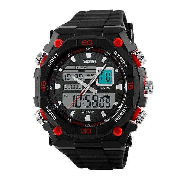 Relógio Masculino Skmei AnaDigi 1092 - Preto e Vermelho