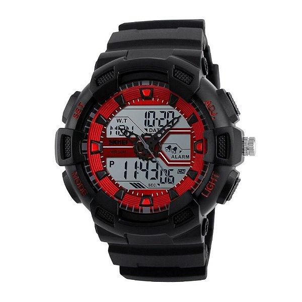 Relógio Masculino Skmei AnaDigi 1189 - Preto e Vermelho