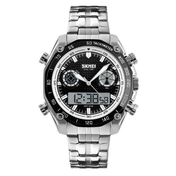 Relógio Masculino Skmei AnaDigi 1204 - Prata, Preto e Branco