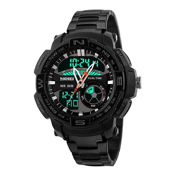 Relógio Masculino Skmei AnaDigi 1121 - Preto e Laranja