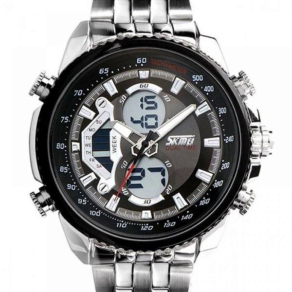 Relógio Masculino Skmei AnaDigi 0993 - Prata e Preto