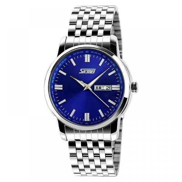 Relógio Masculino Skmei Analógico 9081 - Prata e Azul