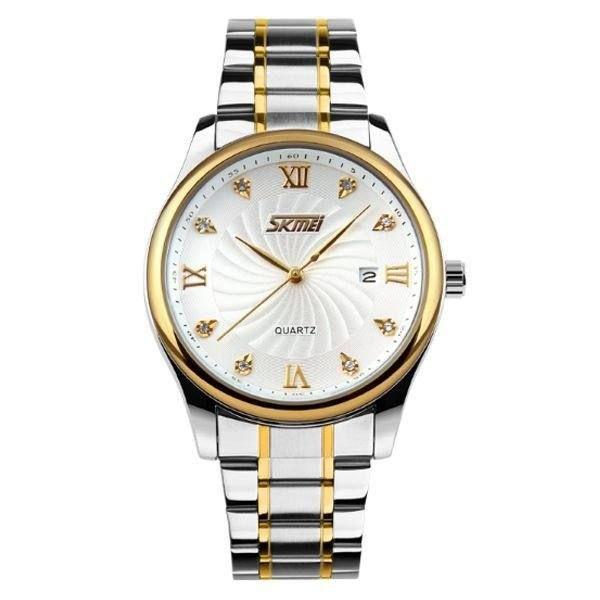 Relógio Masculino Skmei Analógico 9101 - Prata, Dourado e Branco