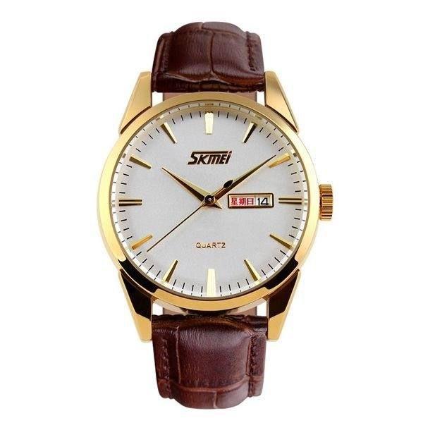 Relógio Masculino Skmei Analógico 9073 - Marrom, Dourado e Branco