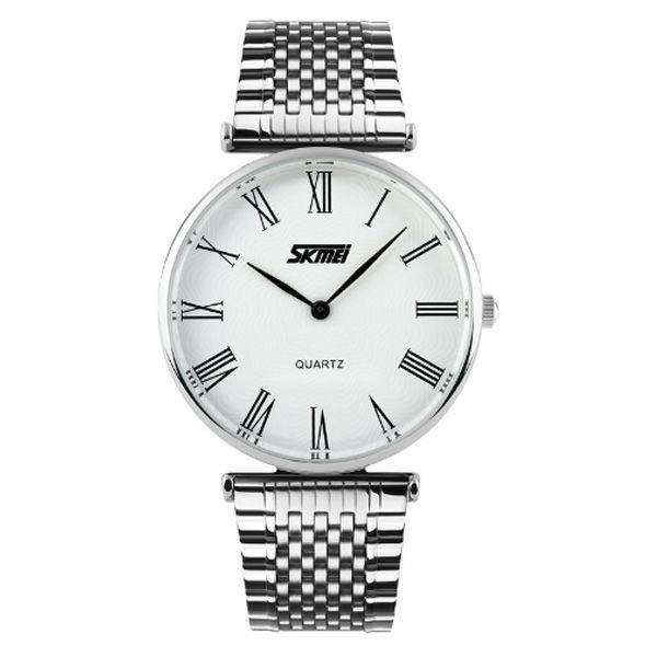 Relógio Masculino Skmei Analógico 9105 - Prata e Branco