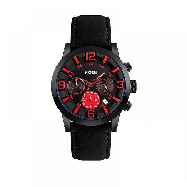 Relógio Masculino Skmei Analógico 9147 - Preto e Vermelho