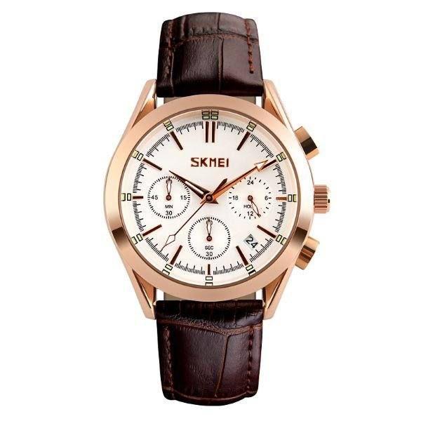 Relógio Masculino Skmei Analógico 9127 - Marrom, Rosê e Branco