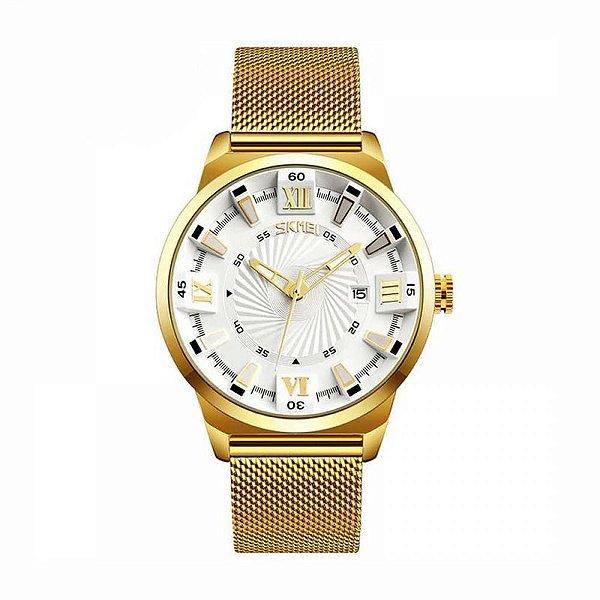 Relógio Masculino Skmei Analógico 9166 Dourado e Branco