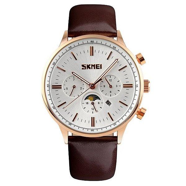 Relógio Masculino Skmei Analógico 9117 - Marrom e Dourado