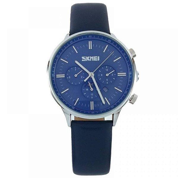 Relógio Masculino Skmei Analógico 9117 - Azul e Prata