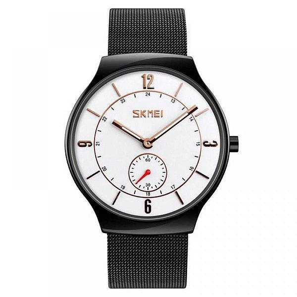 Relógio Masculino Skmei Analógico 9163 - Preto, Branco e Dourado