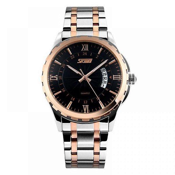 Relógio Masculino Skmei Analógico 9069 - Prata, Cobre e Preto