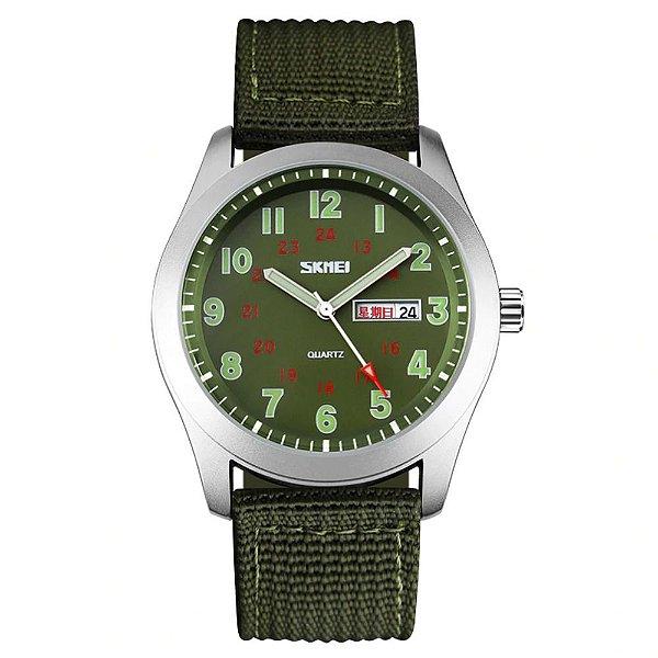 Relógio Masculino Skmei Analógico 9112 - Verde e Prata