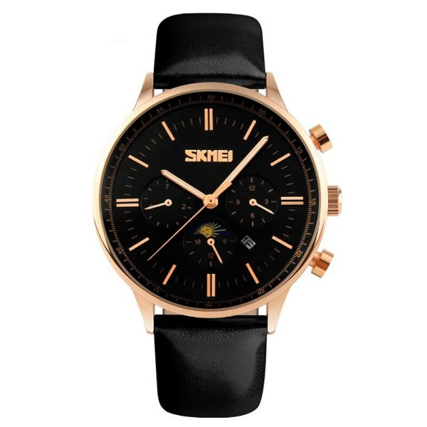 Relógio Masculino Skmei Analógico 9117 - Preto e Dourado