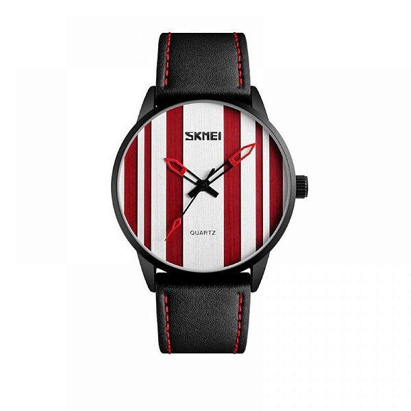 Relógio Masculino Skmei Analógico 1602S - Preto, Vermelho e Branco