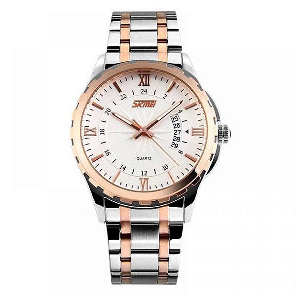 Relógio Masculino Skmei Analógico 9069 - Prata, Cobre e Branco