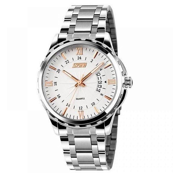 Relógio Masculino Skmei Analógico - Prata, Branco e Dourado