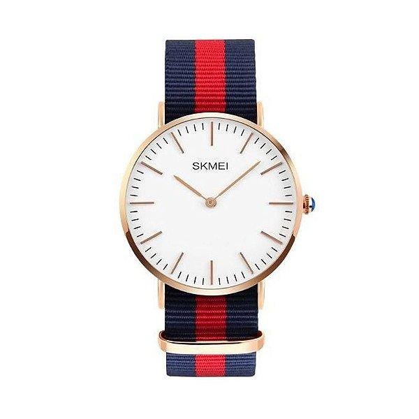 Relógio Masculino Skmei Analógico 1181 - Azul, Vermelho e Branco