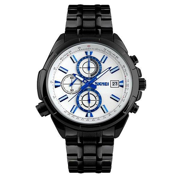 Relógio Masculino Skmei Analógico 9107 - Preto e Branco