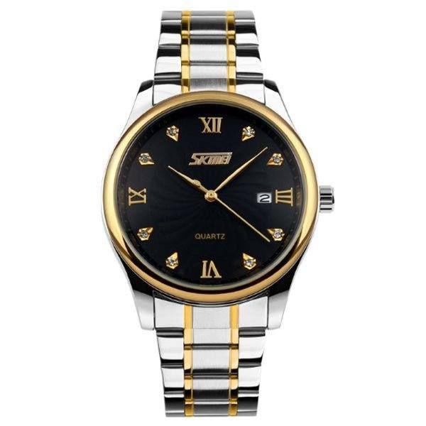 Relógio Masculino Skmei Analógico 9101 - Prata, Dourado e Preto