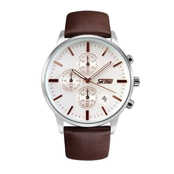 Relógio Masculino Skmei Analógico 9103 - Marrom, Prata e Branco
