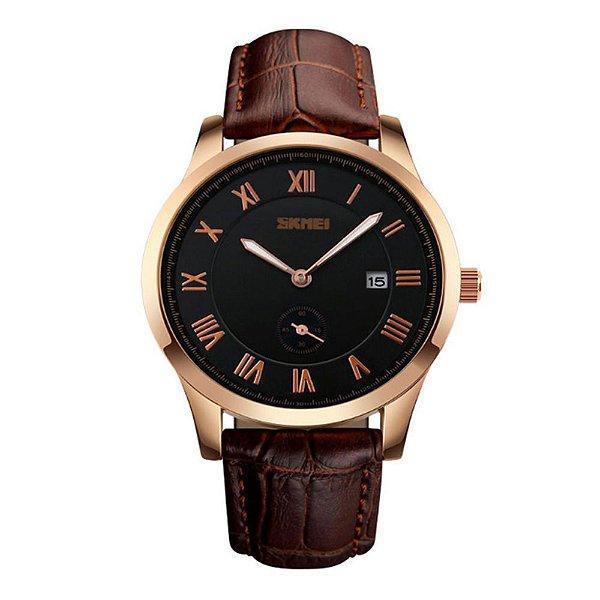 Relógio Masculino Skmei Analógico 1132 Marrom e Preto